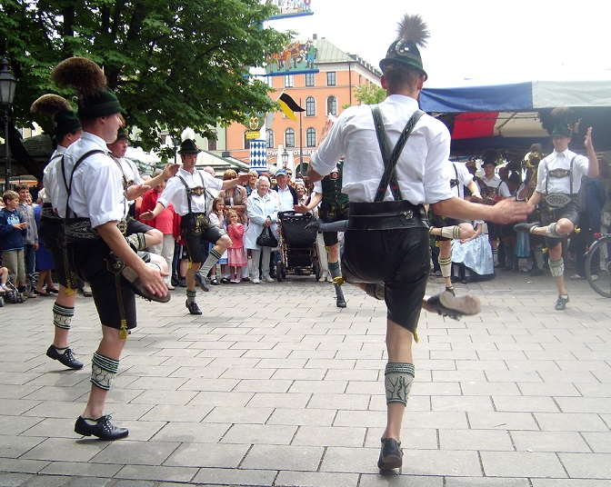 "Men dancing the ""Schuhplattler"", the traditional Tyrol dance."