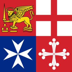 Dall'alto a sinistra, in senso orario, gli stemmi di: Venezia, Genova, Pisa e Amalfi.